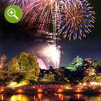 お城と花火の合成写真実例