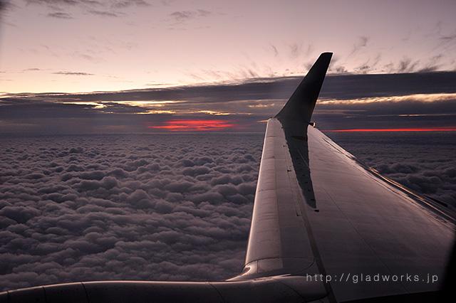 飛行機からの雲海の眺め