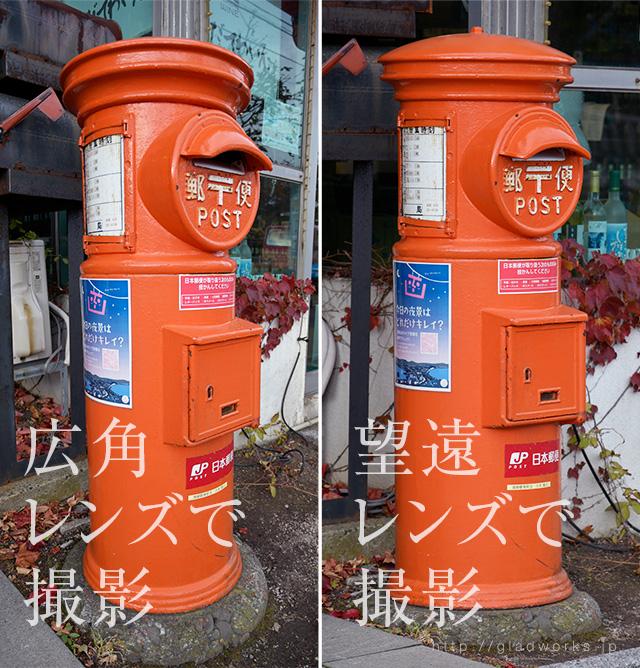 郵便ポストの広角と望遠撮影例