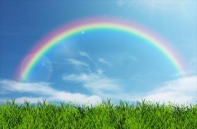 草原と虹のイメージ